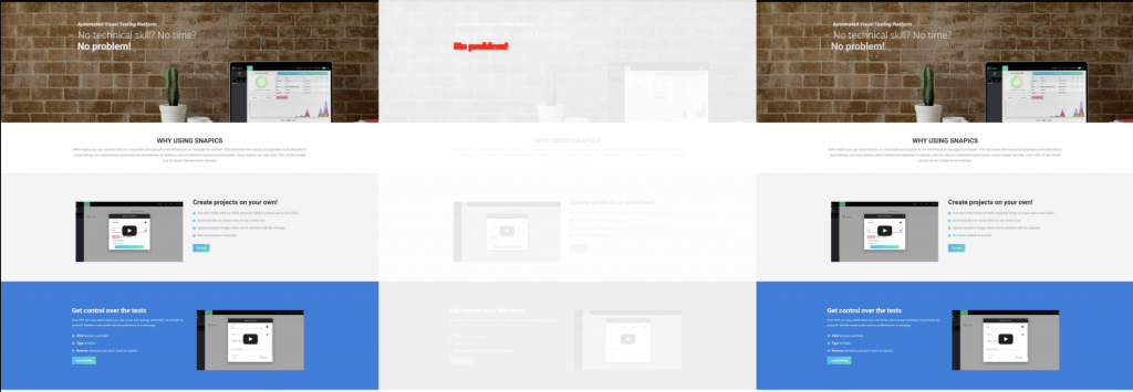 Example result of visual regression testing.