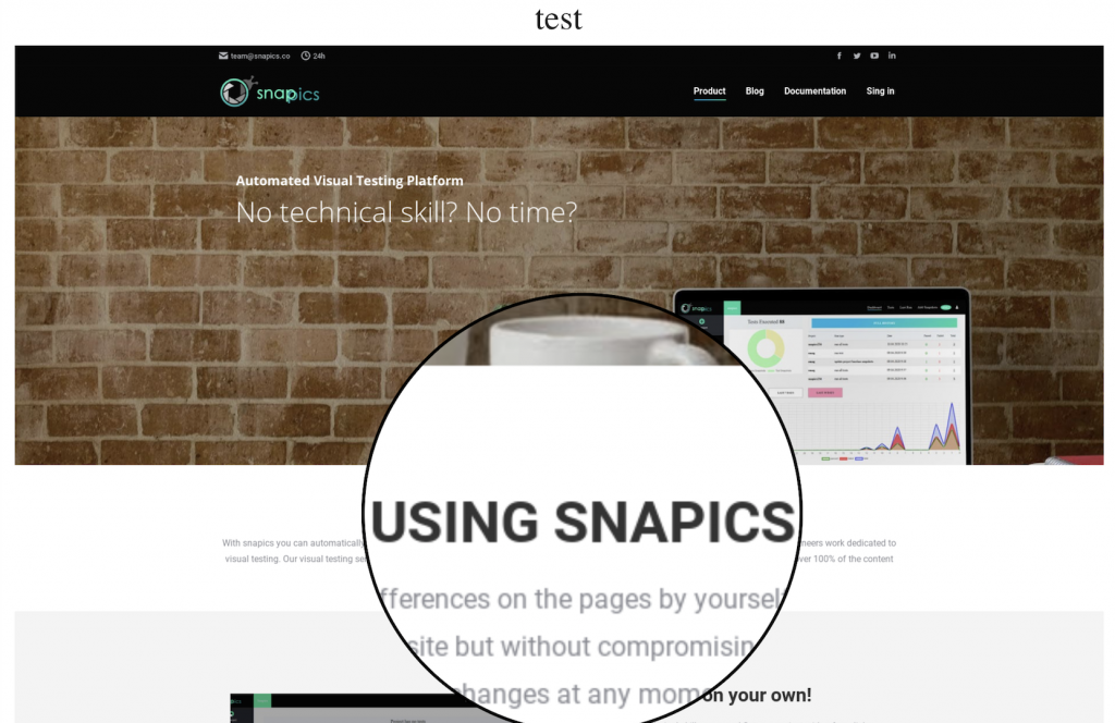 Baseline snapshot for snapiscs home page